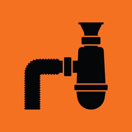 waterway: Bathroom siphon icon. Orange background with black. Vector illustration. Illustration