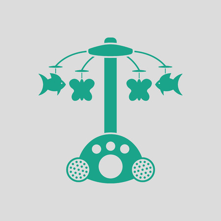 Baby carousel icon. Gray background with green. Vector illustration. Illustration