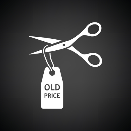 Scissors cut old price tag icon. Black background with white. Vector illustration. Illustration