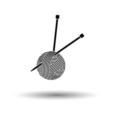 cotton wool: Yarn ball with knitting needles icon. White background with shadow design. Vector illustration.
