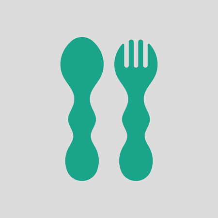 Baby spoon and fork icon. Gray background with green. Vector illustration. Illustration