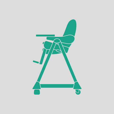 high chair: Baby high chair icon. Gray background with green. Vector illustration.