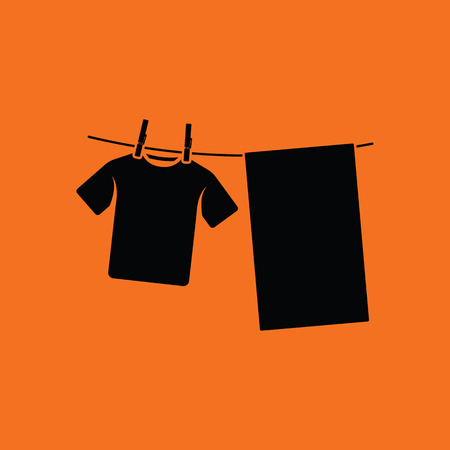 dry cloth: Drying linen icon. Orange background with black. Vector illustration.