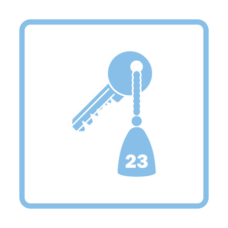 hotel chain: Hotel room key icon. Blue frame design. Vector illustration.