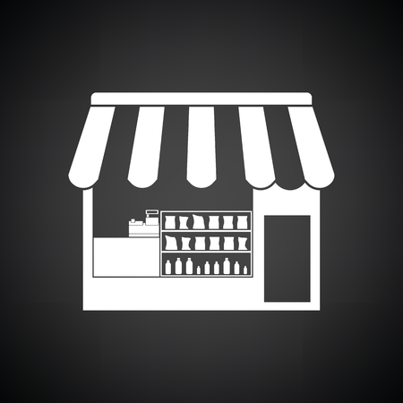 buy local: Tent shop icon. Black background with white. Vector illustration. Illustration