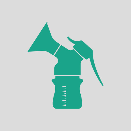 breastfeeding: Breast pump icon. Gray background with green. Vector illustration. Illustration
