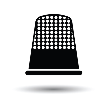 hem: Tailor thimble icon. White background with shadow design. Vector illustration.