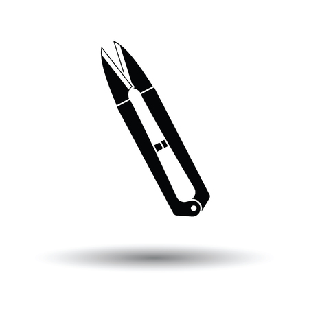 Seam ripper icon. White background with shadow design. Vector illustration.