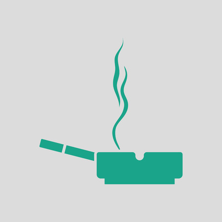 carcinogen: Cigarette in an ashtray icon. Gray background with green.