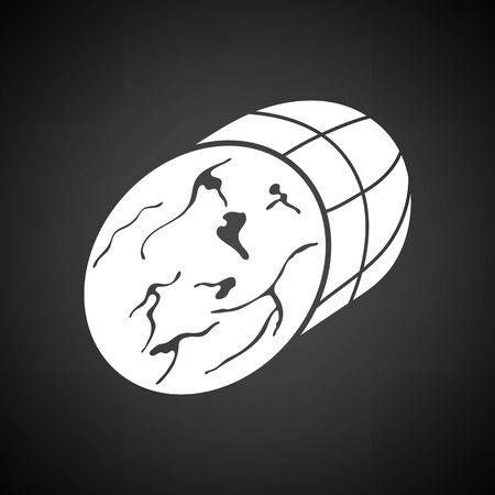 shin: Ham icon. Black background with white. Illustration