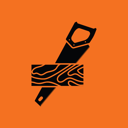 handsaw: Handsaw cutting a plank icon. Orange background with black.