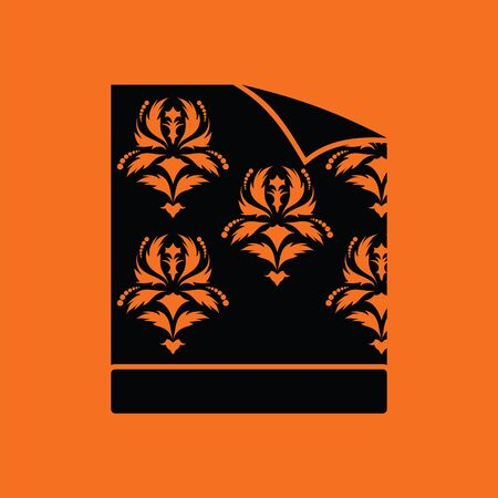 coiled: Wallpaper icon. Orange background with black.