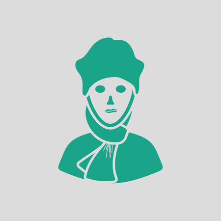 poet: Poet icon. Gray background with green. Illustration