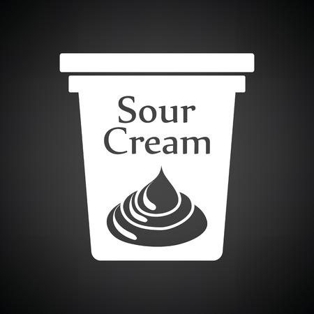 sour: Sour cream icon. Black background with white.