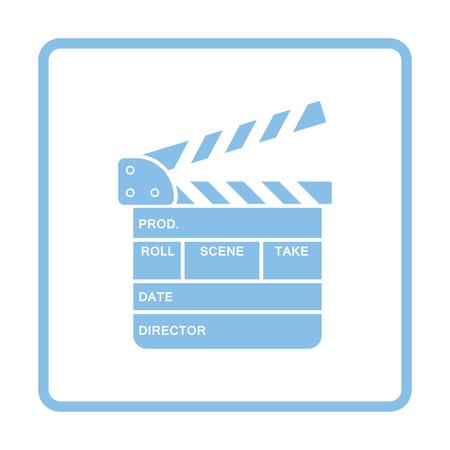 Movie clap board icon. Blue frame design.