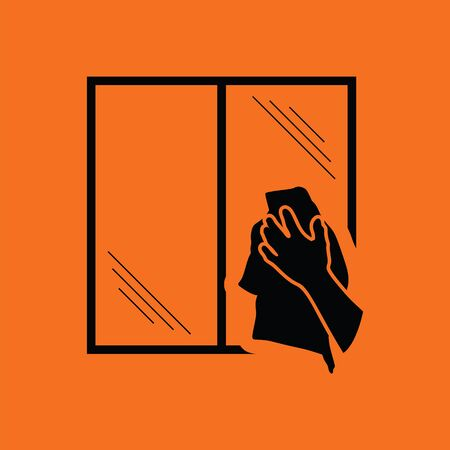 wiping: Hand wiping window icon. Orange background with black.