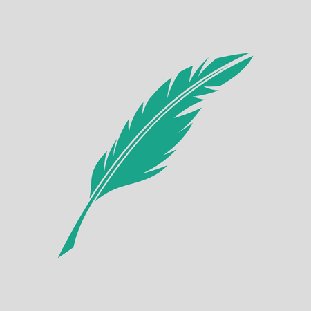 Writing feather icon. Gray background with green.
