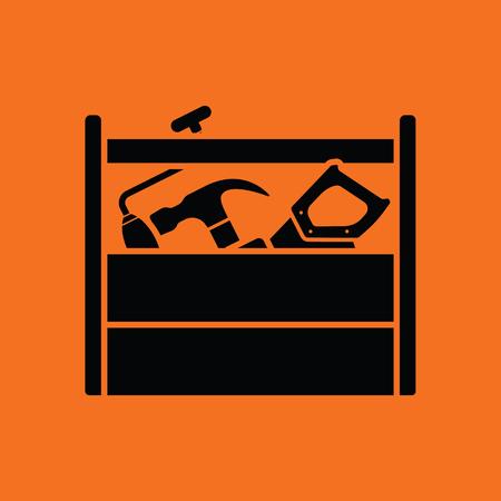Retro tool box icon. Orange background with black. Vetores