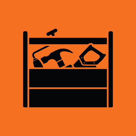 toolbox: Retro tool box icon. Orange background with black. Illustration