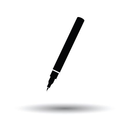 Liner pen icon. White background with shadow design. Illustration