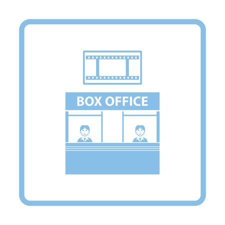shop show window: Box office icon. Blue frame design