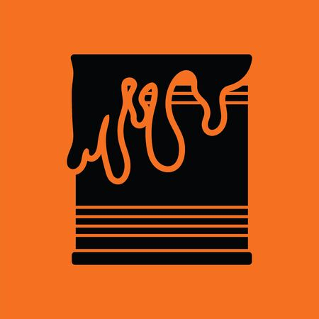 paint can: Paint can icon. Orange background with black.