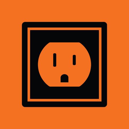 electric outlet: Electric outlet icon. Orange background with black. Illustration