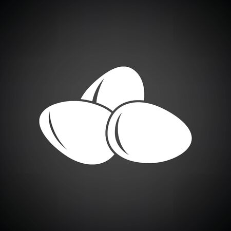Eggs icon. Black background with white.
