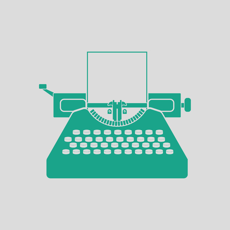 classic authors: Typewriter icon. Gray background with green.