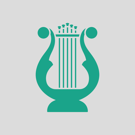 lyre: Lyre icon. Gray background with green.
