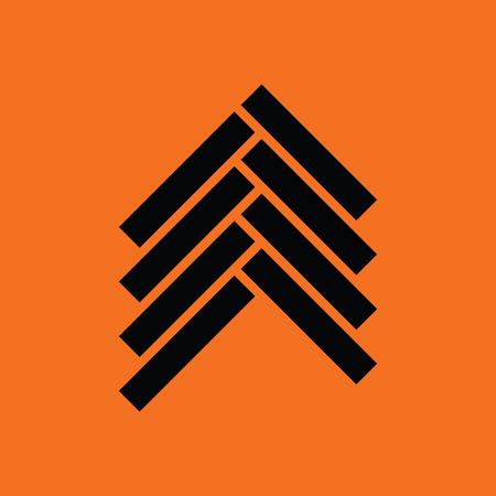 timber floor: Parquet icon. Orange background with black. Illustration