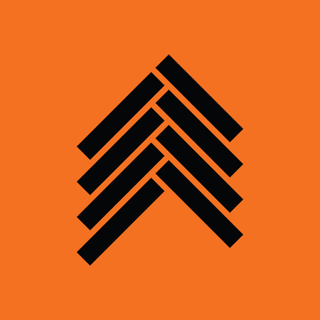 Parquet icon. Orange background with black. Illustration