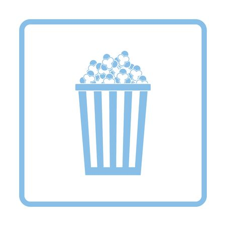 Icône de popcorn de cinéma. Conception de cadre bleu.
