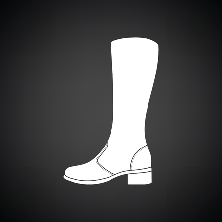 hessian boots: Autumn woman boot icon. Black background with white. Vector illustration.