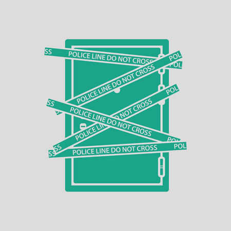 residential zone: Crime scene door icon. Gray background with green. Vector illustration.