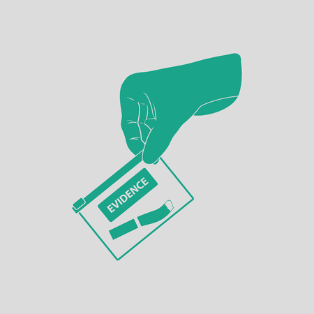 conceal: Hand holding evidence pocket icon. Gray background with green. Vector illustration.