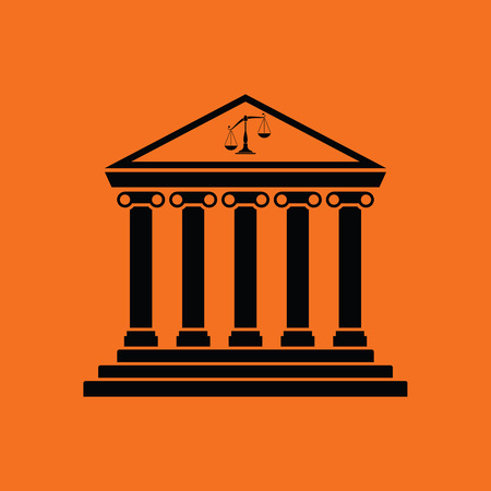 Courthouse icon. Orange background with black. Vector illustration.