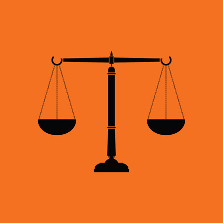 acquittal: Justice scale icon. Orange background with black. Vector illustration.