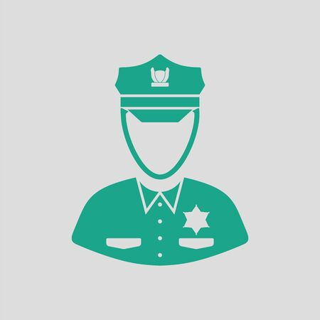 patrol: Policeman icon. Gray background with green. Vector illustration.