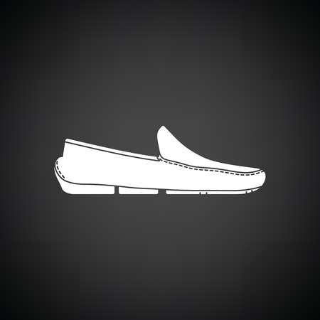 loafer: Moccasin icon. Black background with white. Vector illustration.