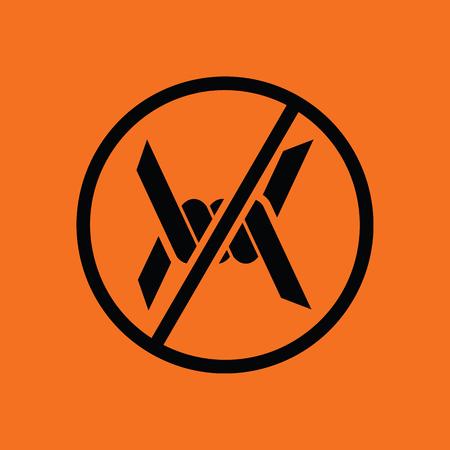 barbed: Barbed wire icon. Orange background with black. Vector illustration. Illustration