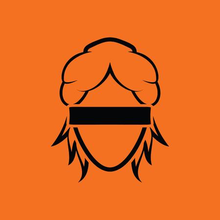 female judge: Femida head icon. Orange background with black. Vector illustration.