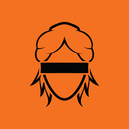 Femida head icon. Orange background with black. Vector illustration.