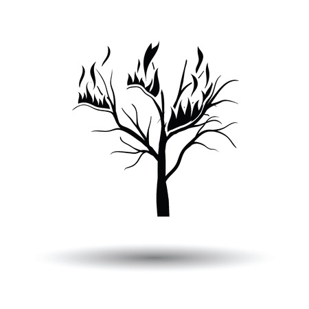 Wildfire icon. White background with shadow design. Vector illustration.