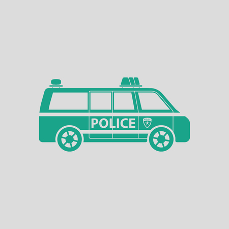 highway patrol: Police van icon. Gray background with green. Vector illustration.