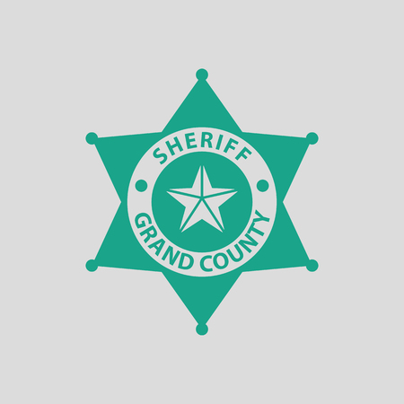 sheriff badge: Sheriff badge icon. Gray background with green. Vector illustration.