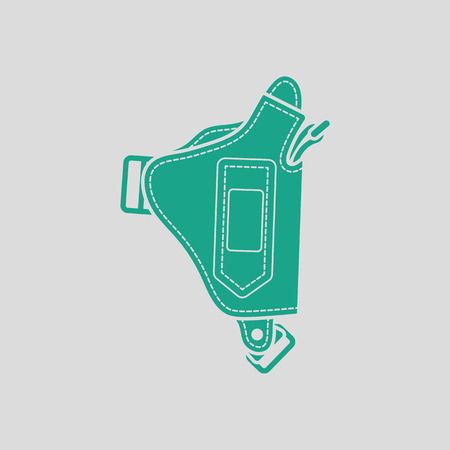 holster: Police holster gun icon. Gray background with green. Vector illustration. Illustration