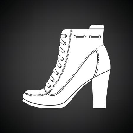 calcanhares: Ícone do carregador de tornozelo. Fundo preto com branco. Ilustração do vetor. Ilustração