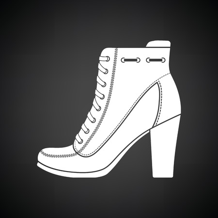 heel: Ankle boot icon. Black background with white. Vector illustration.