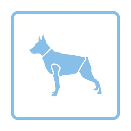 clothed: Dog cloth icon. Blue frame design. Vector illustration.